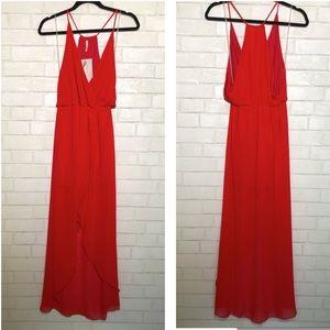 Publik Red Crossover Draped Dress
